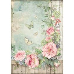 Papír rýžový A4 House of Roses, plot s růžemi