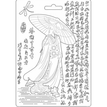 Forma A5 Oriental Garden, gejša (Stamperia)