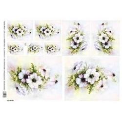 Papír rýžový 35x50 Bílé květy na pastelově duhovém