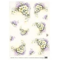Papír rýžový 35x50 Žluté růže a fialky