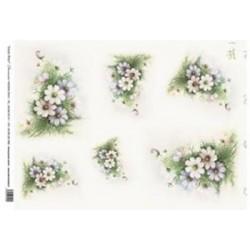Papír rýžový 35x50 Kvítky jemné (7721)