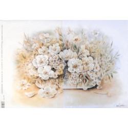 Papír rýžový 35x50 Květy ve váze - bílé (5173)