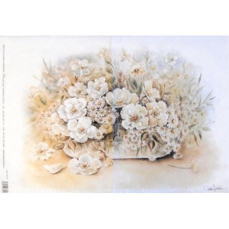 Papír rýžový 35x50 Květy ve váze - bílé