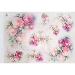 Papír rýžový 35x50 Růže s větvičkou (7706)