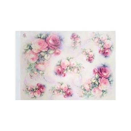 Papír rýžový 35x50 Růže s větvičkou