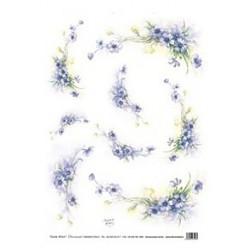 Papír rýžový 35x50 Kvítky modré (7722)