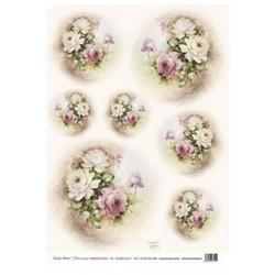 Papír rýžový 35x50 Ovál růže (7719)