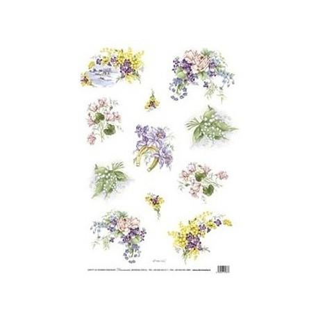 Papír rýžový 35x50 Květinové motivy