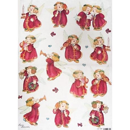 Papír rýžový 35x50 Andílci v červeném