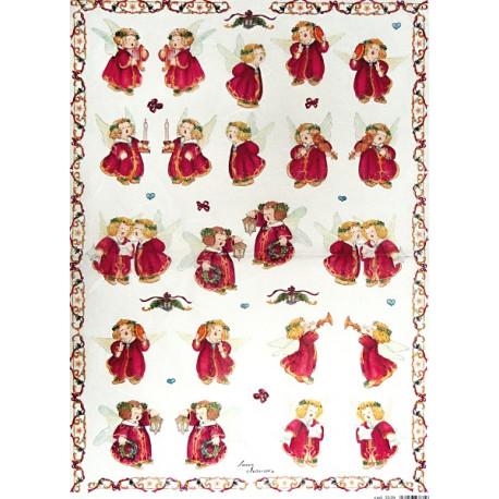 Papír rýžový 35x50 Andílci v červeném menší