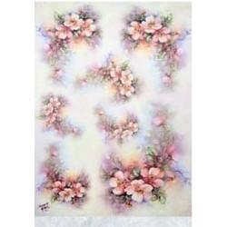 Papír rýžový 35x50 Šípková růže na duhovém (7703) - 2.jakost