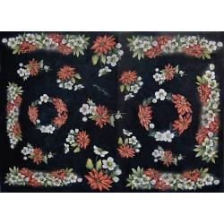 Papír rýžový 35x50 Vánoční růže na černé