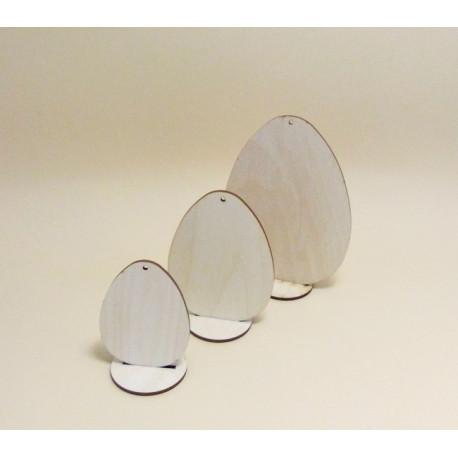 Dřev.dekorace - 3x vajíčko s podstavcem