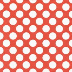 Bílé puntíky na červené, větší 33x33