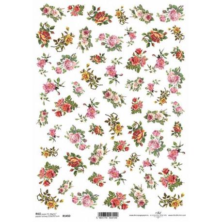 Papír rýžový A4 Malé kytičky, růžičky
