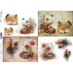 Papír soft A4 4 obrázky, slepice s kuřátky, kohouti