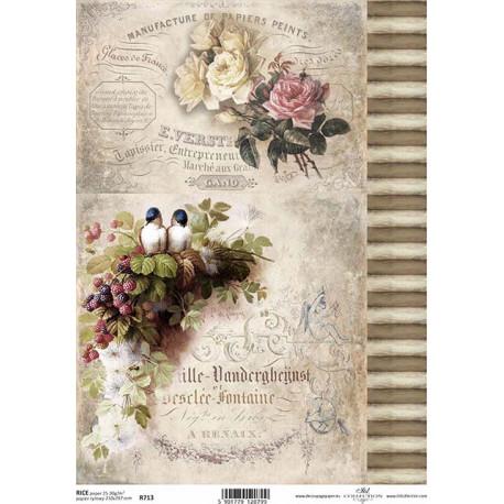 Papír rýžový A4 Růže, ptáčci, proužky