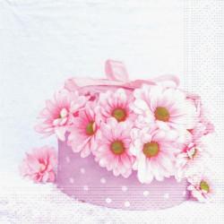 Růžové květy v krabičce 33x33