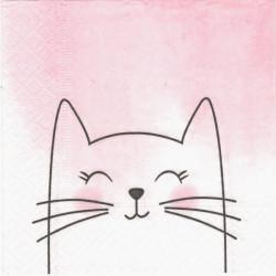 Kočka na růžovém 25x25