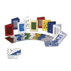 Set 3ks přáníček 10,5x15cm a transparentních obálek, kočky a psi, modrá (F)