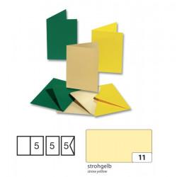 5 dvojlistých přáníček s vkládacím listem, slámově žlutá (F)