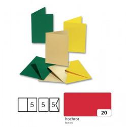 5 dvojlistých přáníček s vkládacím listem, sytě červená (F)