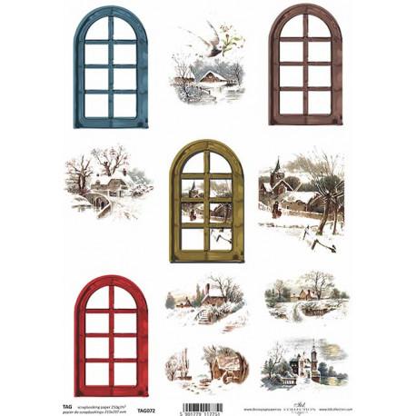 Scrap.papír A4 Visačky - Zimní obrázky a okna oblouk