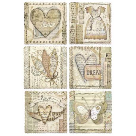Papír rýžový A4 Imagine, 6 romantických obrázků