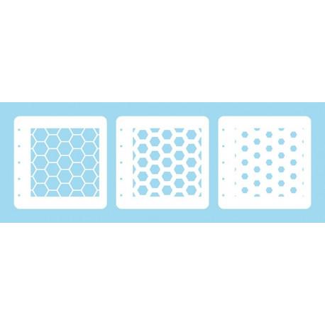 Set 3ks šablon k vrstvení - medová plástev (Layered Combi Stencil)