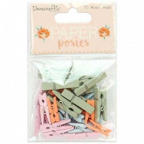 Mini kolíčky Paper Posies, 35ks