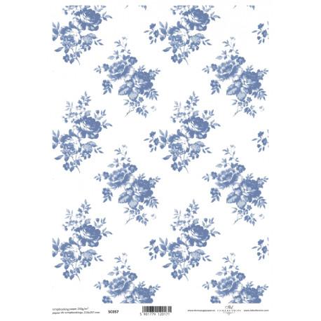 Scrap.papír A4 Celoplošný, růžičky modré větší