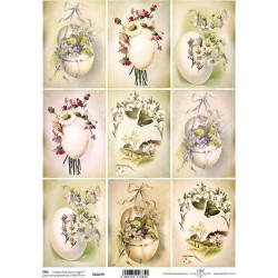 Scrap.papír A4 Velikonoční vejce s květinami