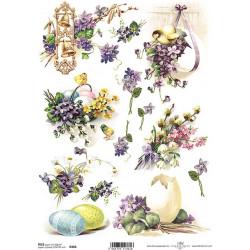 Papír rýžový A4 Velikonoční s fialkami a zvonečky