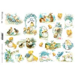 Papír rýžový A4 Velikonoční pozdrav s pomněnkami, králíčci a kuřátka