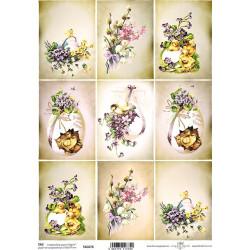 Scrap.papír A4 Velikonoční, kartičky s fialkami
