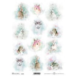 Papír rýžový A4 Shabby Chic, akvarelové velikonoční obrázky se zvířátky