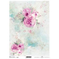 Papír rýžový A4 Shabby Chic, akvarel, růže