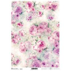 Papír rýžový A4 Shabby Chic, akvarel, růže po celé ploše