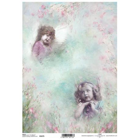 Papír rýžový A4 Shabby Chic, akvarel, dva andílci
