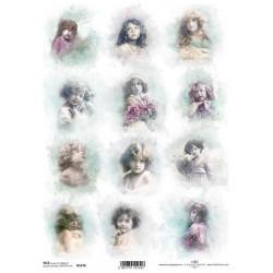 Papír rýžový A4 Shabby Chic, akvarel, andílci a dívky