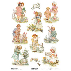 Papír rýžový A4 Velikonoční, děti, zajíčci, kuřátka