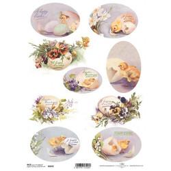 Papír rýžový A4 Oválky, vajíčka s maceškami