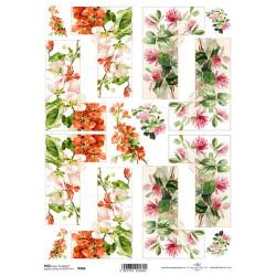 Papír rýžový A4 Rohy, jetel a rozkvetlá jabloň
