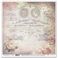 Růžová růže a písmo - scrap.papír 315x32,5 200g