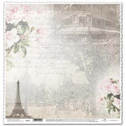 Růže, Eiffelovka a psané písmo - scrap.papír 31,5x32,5 200g