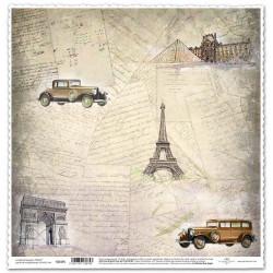 Vintage písmo, Paříž - scrap.papír 31,5x32,5 200g