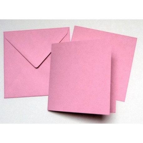 Přáníčko čtvercové, vložený list, obálka - růžová