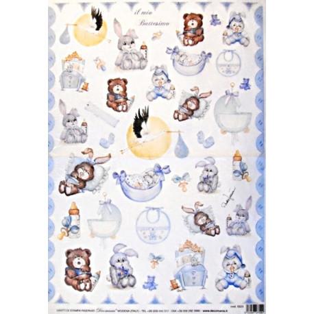 Papír rýžový 35x50 Dětský se zvířátky modrý