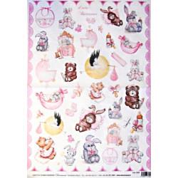 Papír rýžový 35x50 Dětský se zvířátky růžový