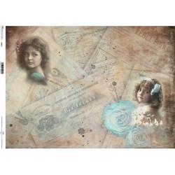 Papír rýžový A3 Historické dokumenty, dívky, modré růže